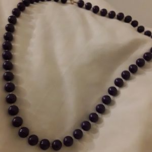 Vintage deep purple lucite bead necklace